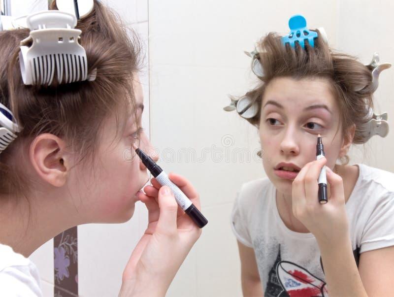 Teen makeup stock images