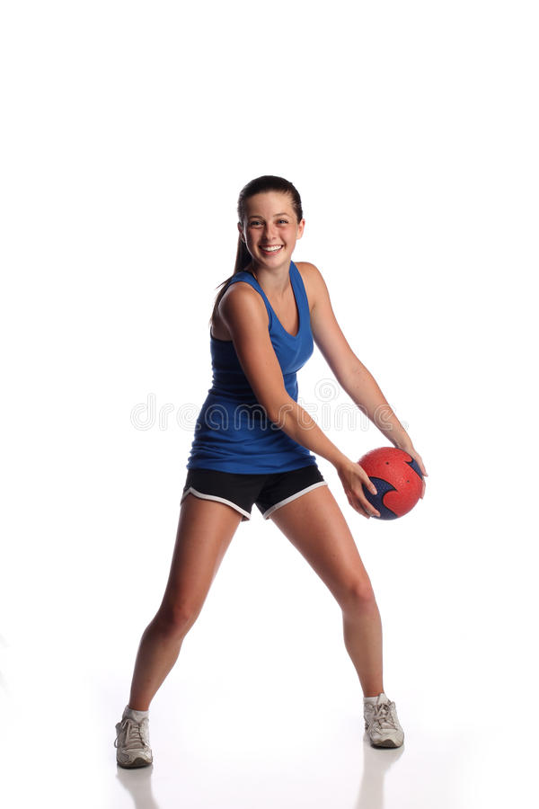 Teen with medicine ball royalty free stock photos