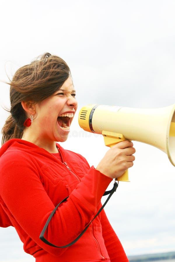 Teen and a megaphone stock photos