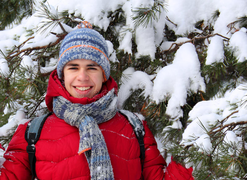 Download Teen Near A Snow-covered Tree Stock Photo - Image: 28186882