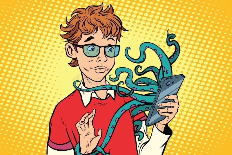 Teen and octopus in the smartphone, danger online. Viruses and hackers. Internet addiction. Pop art retro comic book vector illustration stock illustration