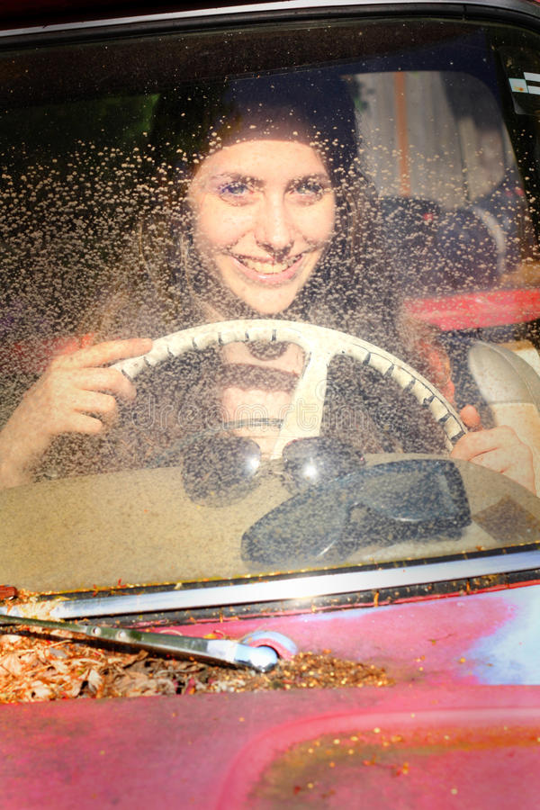 Teen in Old Car royalty free stock photo