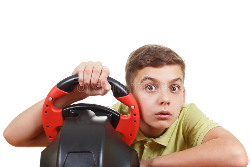 Teen Play computer racing, isolated on white royalty free stock photo