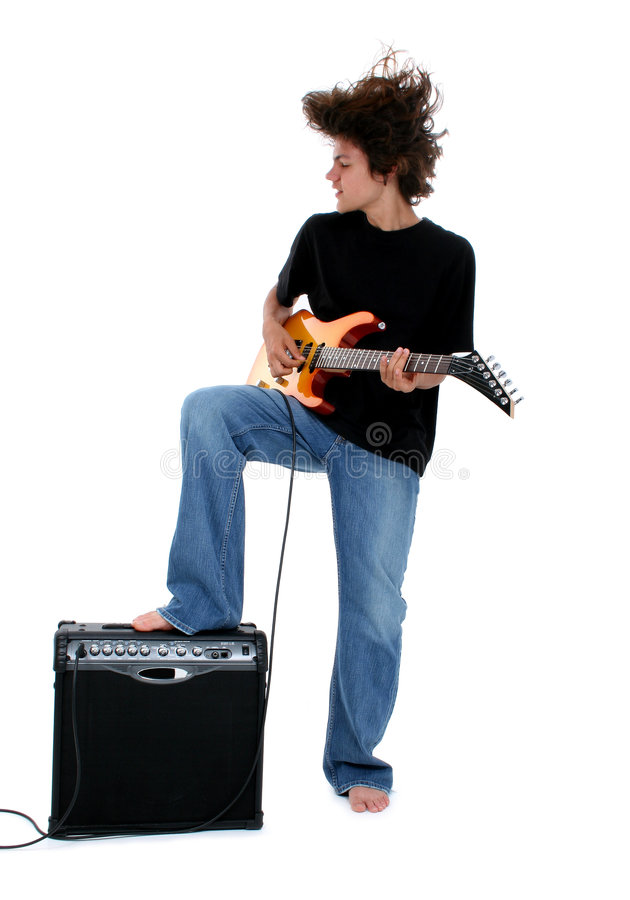 Teen playing electric guitar stock photos