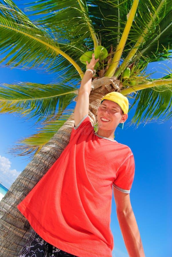 Teen reaching coconut stock photo