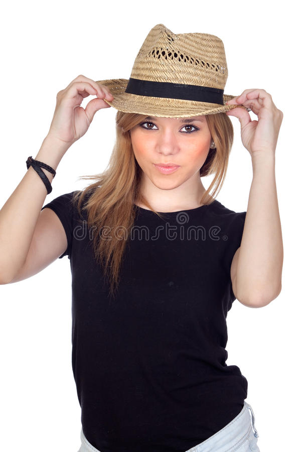 Download Teen Rebellious Girl With A Straw Cap Stock Image - Image: 25954357