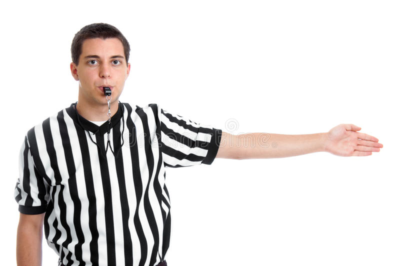 Teen referee giving possession sign. A teenage basketball referee giving sign for possession royalty free stock images