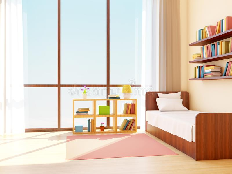 Teen room japanese. Teen room with big window in japanese style. 3d illustration royalty free illustration