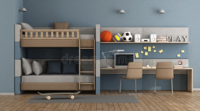 Teen room with bunk bed stock illustration