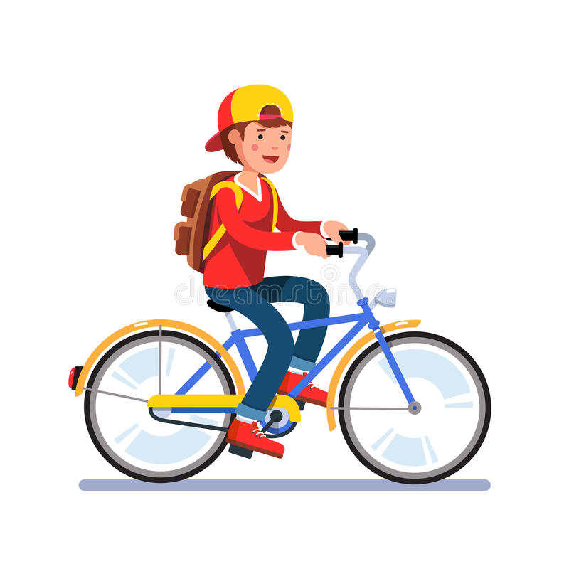 Teen school boy cycling on bicycle with backpack. Teen kid school boy cycling on bicycle wearing backpack and baseball cap. Young teen man hipster riding retro stock illustration