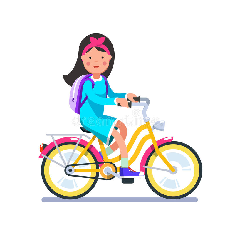 Teen school girl cycling on bicycle with backpack royalty free illustration