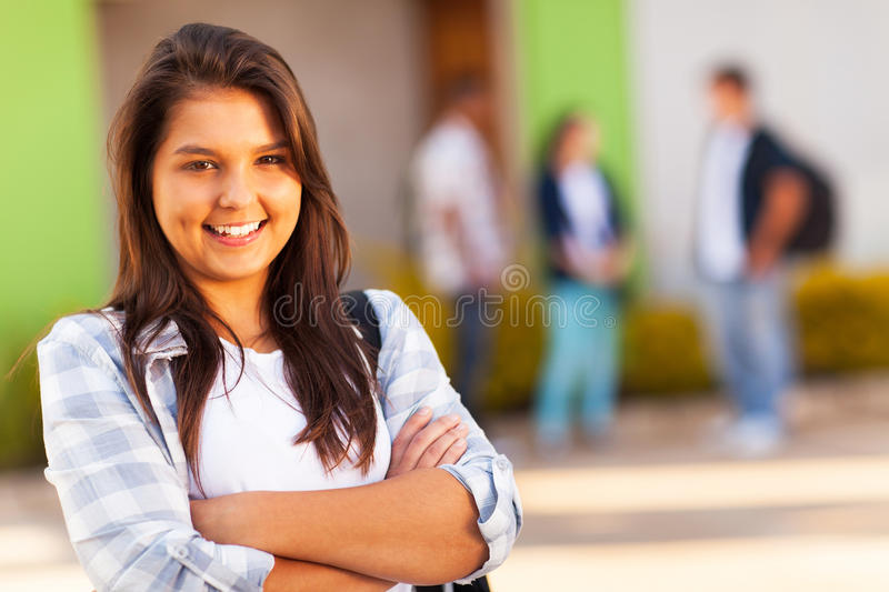 Teen school girl stock photo
