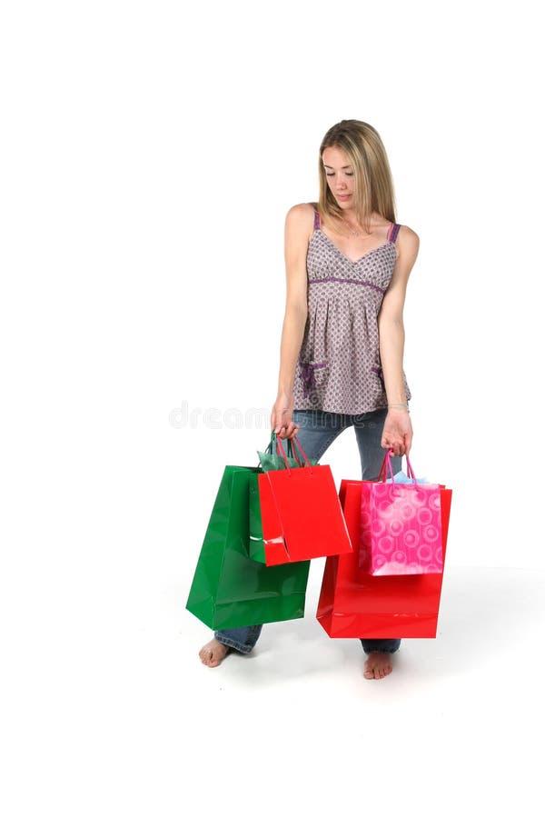 Teen with shopping bags stock photos