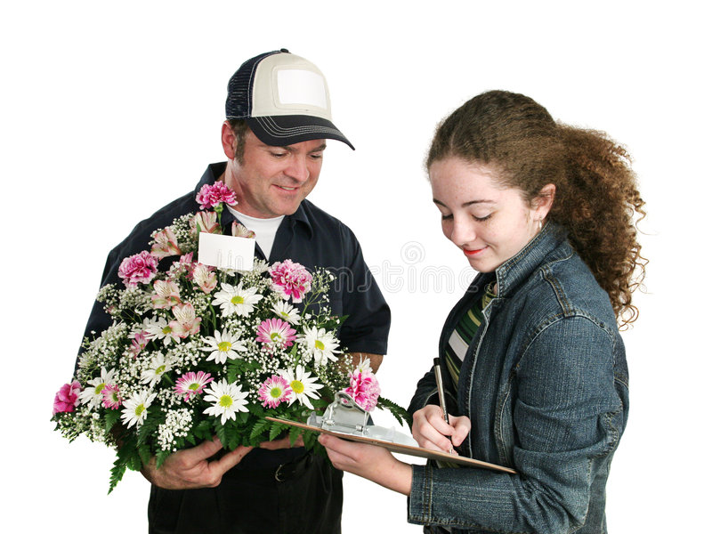 Teen Signs For Flowers stock photo