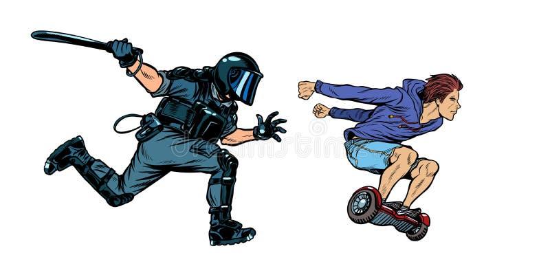 Teen skateboarder. riot police with a baton. Pop art retro vector illustration drawing stock illustration