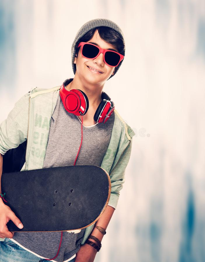 Teen skateboarder royalty free stock photography