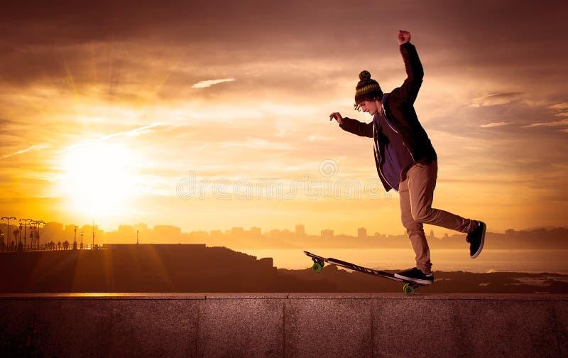 Teen skateboarder royalty free stock photo