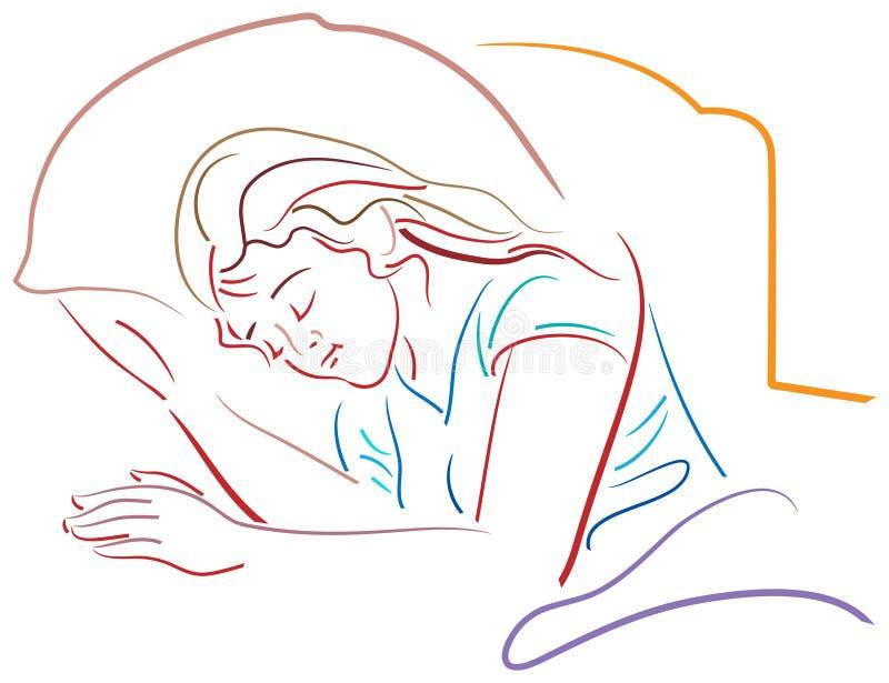 Teen sleep. Brush stroke image vector illustration