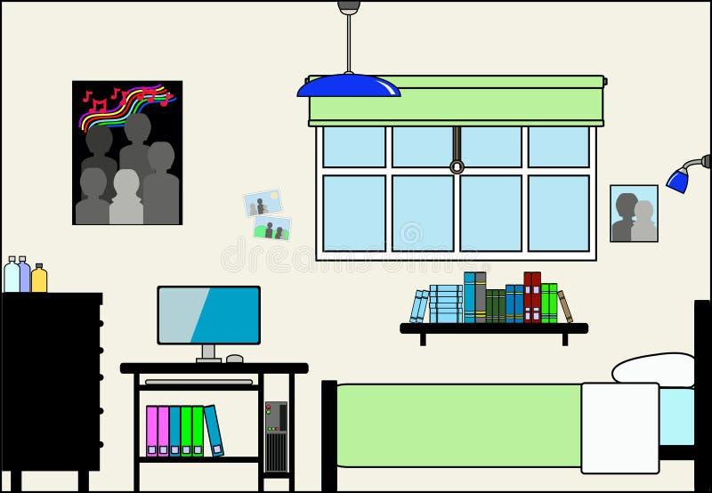 Teen sovrum med möblemang och monteringar vektor illustrationer