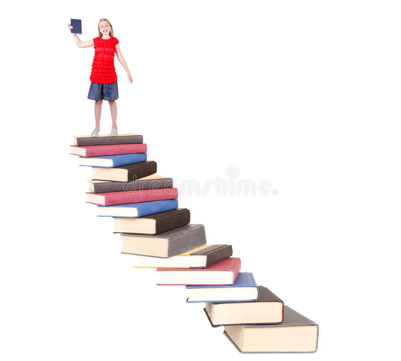 Download Teen On Top Of Book Staircase Stock Image - Image: 31674367