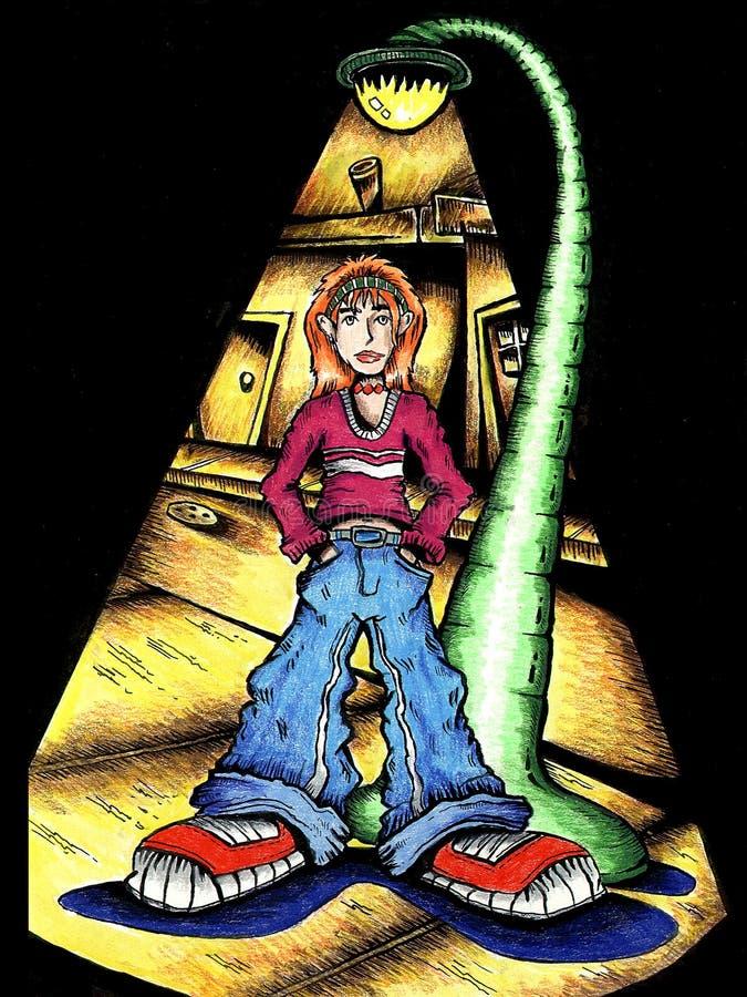 Teen Under Street Light royalty free illustration