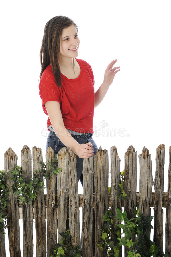 Teen Waving Hello stock photo