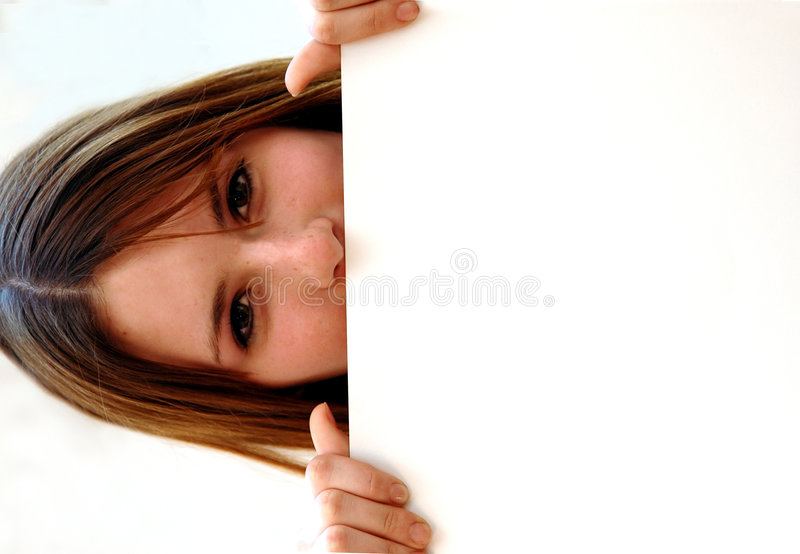 Teen with white sign board royalty free stock photo