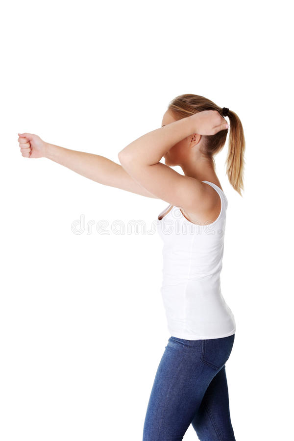Download Teen woman with fists up stock photo. Image of caucasian - 22381604