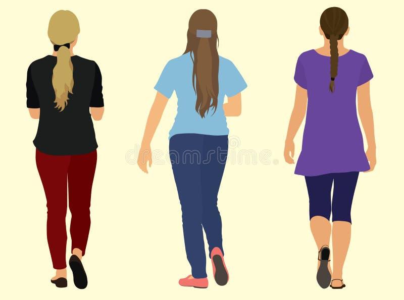 Teen Women Walking Away. Teen Women dressed in casual clothes while walking away stock illustration