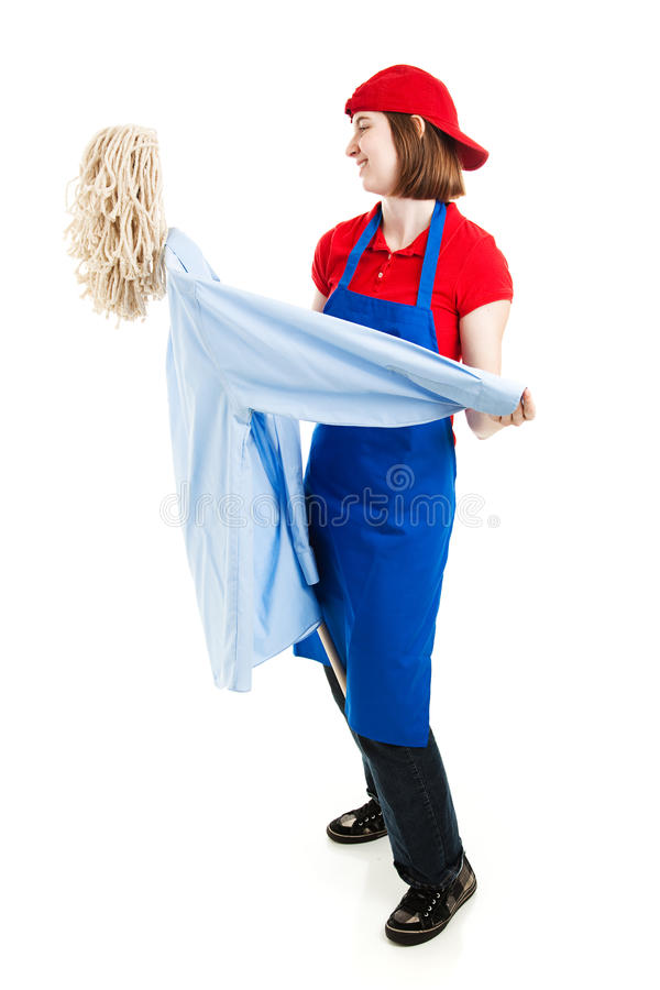 Teen Worker Dancing On The Job Royalty Free Stock Photo