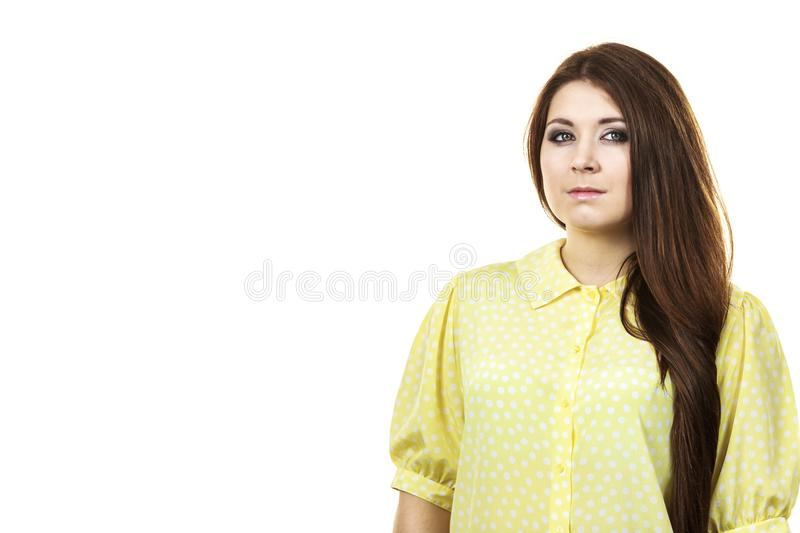 Teenage beauty being neutral. Teenage beauty concept. Closeup portrait of young teenager woman having neutral face expression stock image