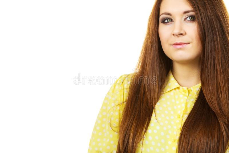 Teenage beauty being neutral. Teenage beauty concept. Closeup portrait of young teenager woman having neutral face expression royalty free stock photo