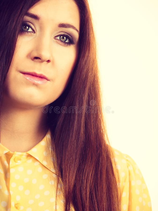 Teenage beauty being neutral. Teenage beauty concept. Closeup portrait of young teenager woman having neutral face expression royalty free stock image