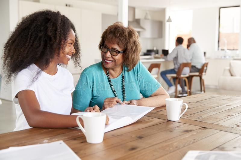 Teenage African American  girl and her grandmother looking through a photo album smiling at each other, close up stock photos