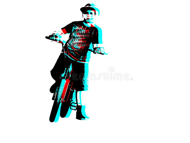 A Teenage BMX Bicycle Rider, Traffic Lights, Isolated on a White Background. Safe Riding Concept. 3D Anaglyph Effect.  stock illustration