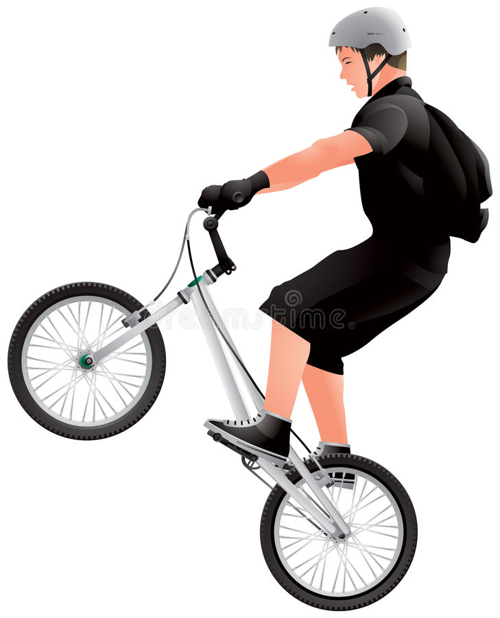 Teenage BMX biker. BMX Bicycle Rider realistic vector image, extreme sport royalty free illustration