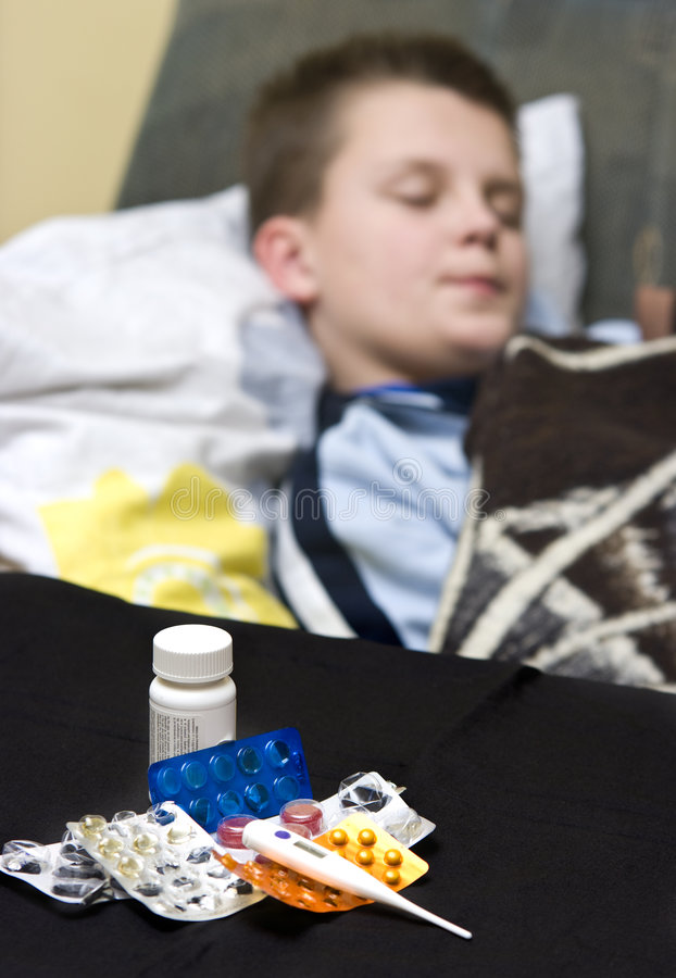 Download Teenage Boy In Bed Sick Stock Image - Image: 8306871