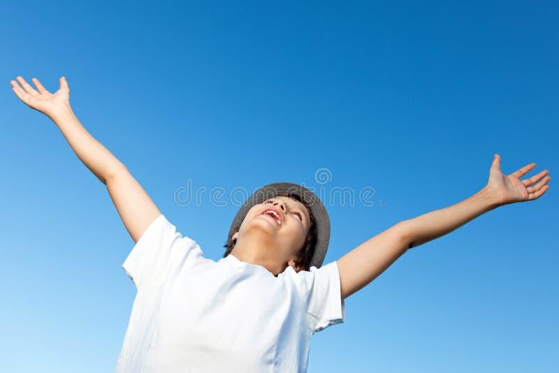 Teenage Boy being very happy royalty free stock photo