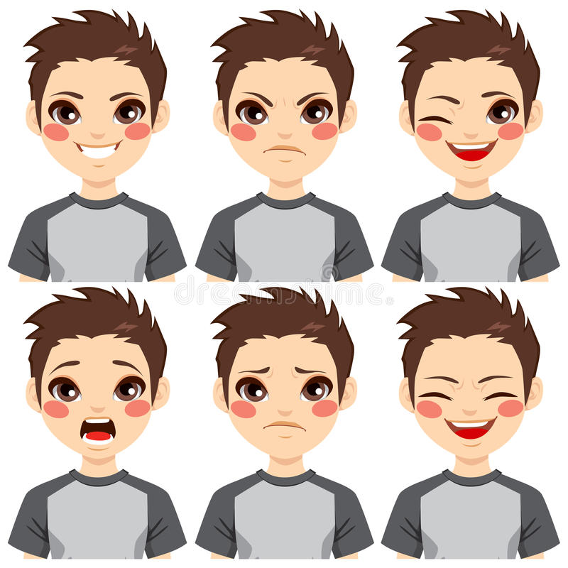 Teenage Boy Face Expressions. Teenage boy making six different face expressions set vector illustration