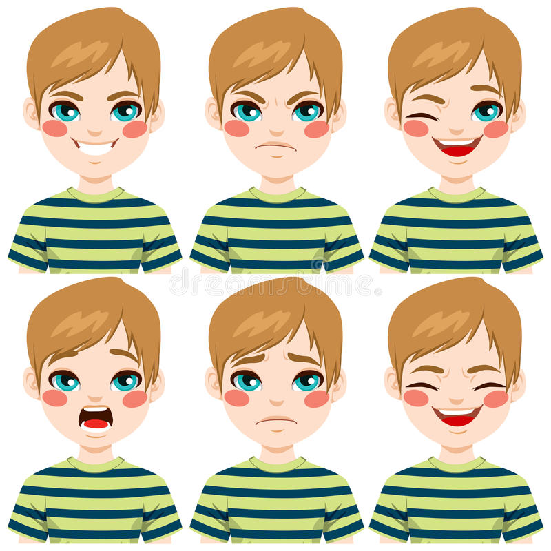Teenage Boy Face Expressions. Teenage boy making six different face expressions set royalty free illustration