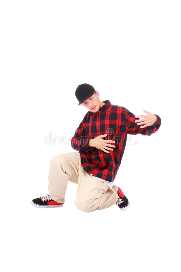 Teenage boy hip hop dancer on white. Background royalty free stock photos