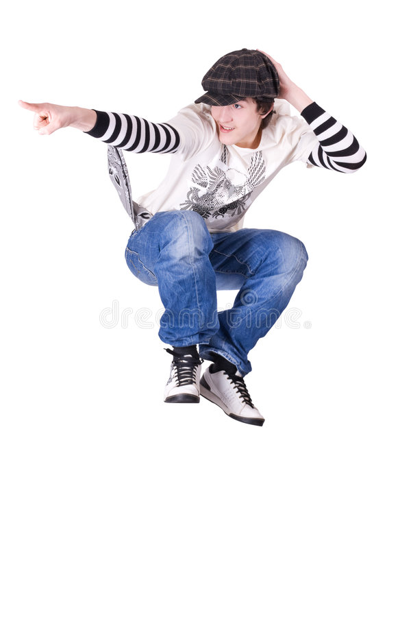 Teenage Boy Jumping And Dancing Locking Dance Royalty Free Stock Images - Image 9193649