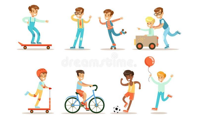 Teenage Boy Outdoor Activiteiten Reeks, de Sport van het Doen van de Jongen, Ridende fiets, Kick Scooter, het Rollerblading van h royalty-vrije illustratie