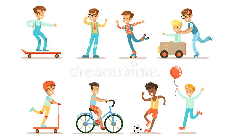 Teenage Boy Outdoor Activities Set, Boy Doing Sports, Riding Bicycle, Kick Scooter, Skateboard Rollerblading, Playing royalty free illustration