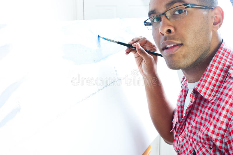 Teenage Boy Painting Royalty Free Stock Photography