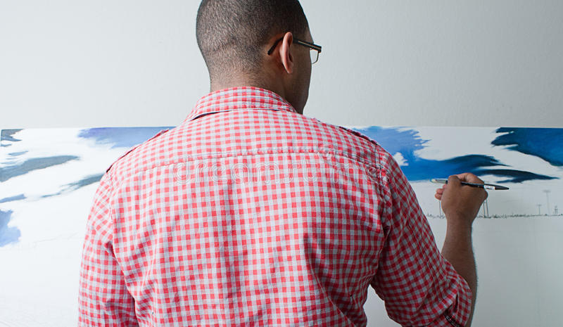 Download Teenage boy painting stock image. Image of back, blue - 20062921