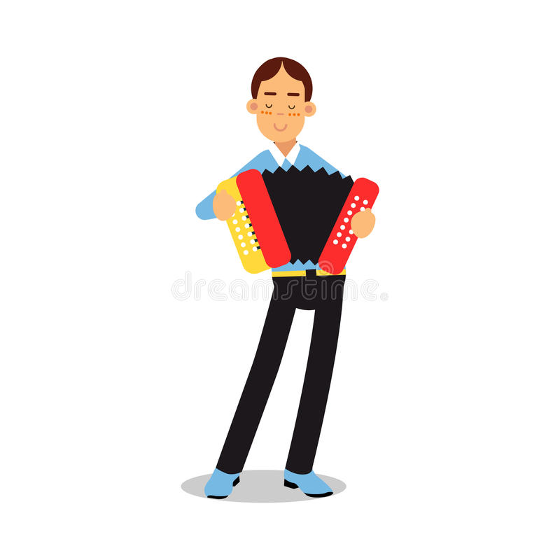 Teenage boy playing accordion during concert cartoon character vector Illustration. Isolated on a white background vector illustration