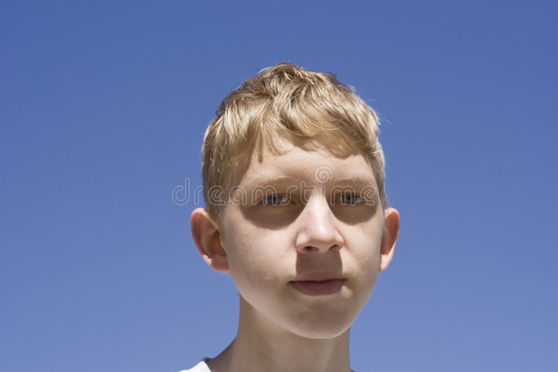 Teenage boy portrait stock photo