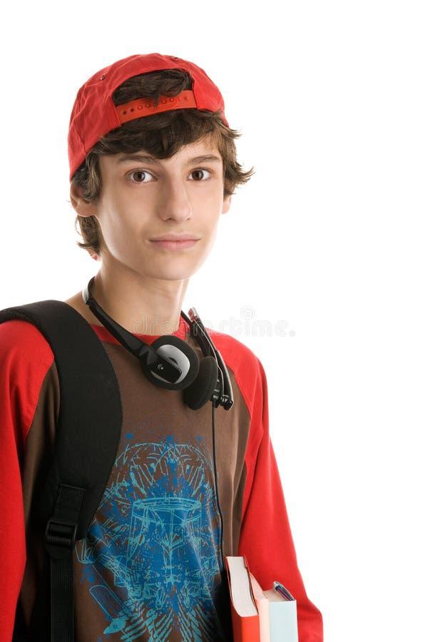 Teenage boy preparing to school royalty free stock photography
