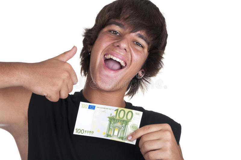 Download Teenage Boy With A Ticket Of 100 Euros Stock Photo - Image: 21108110